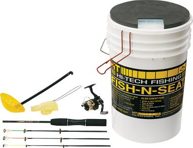 Fish 39 n 39 bucket ice rod combo for Ice fishing bucket