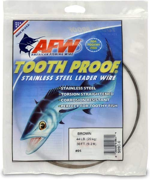 AFW Tooth Proof stainless steel leader wire against a white background.