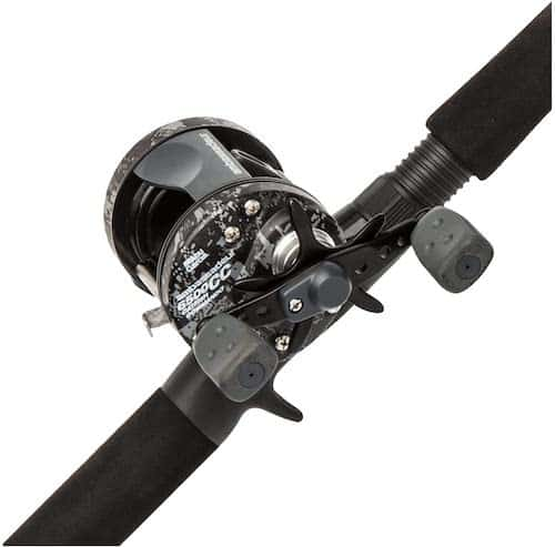 The Abu Garcia Catfish Commando casting rod and reel combo against a white background.