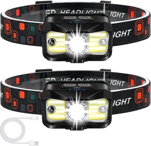 Two Alipret 1100 Lumen Headlamps against a white background.