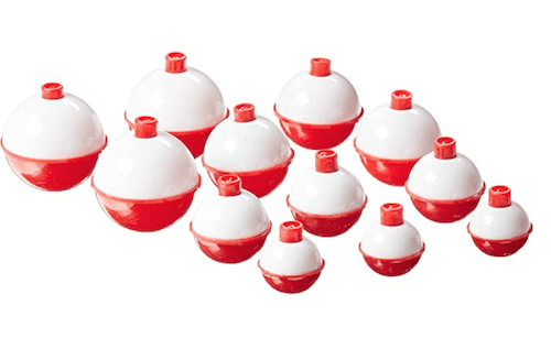 An assortment of Eagle Claw's snap-on bobbers against a white background.