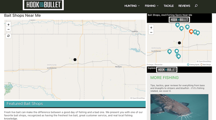 A screenshot of the bait shop locator map on Hook and Bullet.