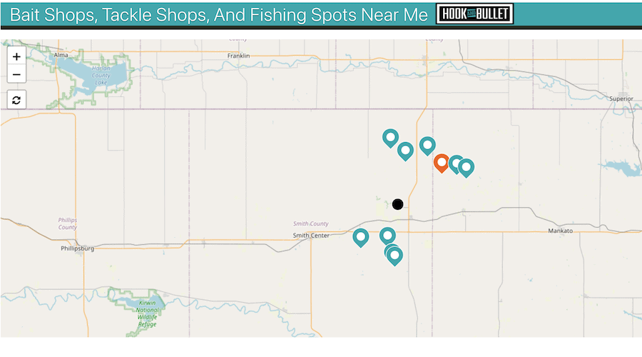 A screenshot of the fishing spot map on Hook and Bullet.