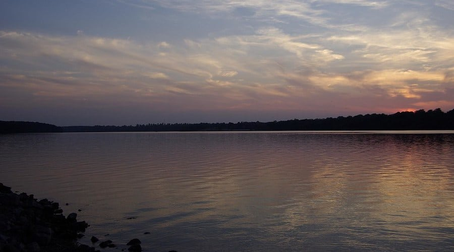 Lake Jacomo, one of the best places to catfish, at sunset.