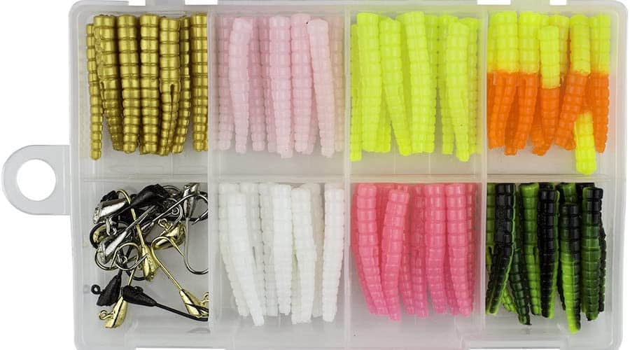 Leland Lures trout grubs against a white background.