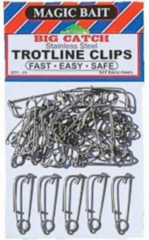 Magic Bait's trotline clips, a nice piece of catfish tackle, against a white background.