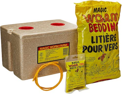Magic Worm Farm box with bedding and worm food to store live bait worms against a white background.