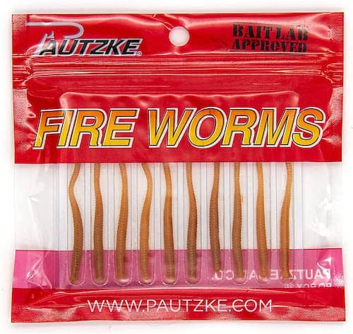 A pack of Pautzke Fire Worms, a splendid piece of trout tackle, against a white background.