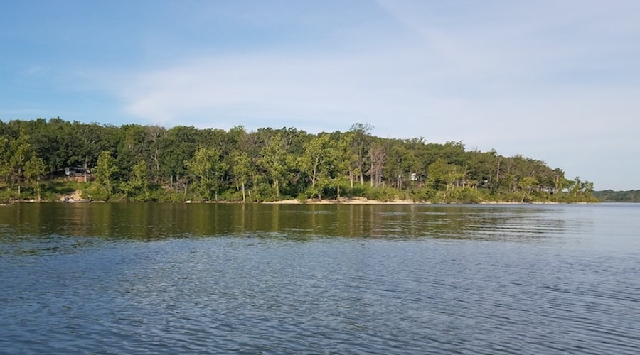 A photo of Pomme De Terre Lake, one of the best places to catfish in Missouri.