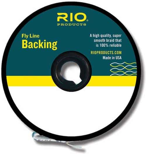 Rio 20-pound test dacron backing fly fishing line against a white background.