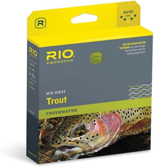 Rio Products Avid Series Trout fly fishing line against a white background.