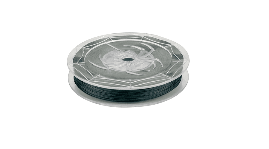 A spool of Spiderwire fishing line against a white background.