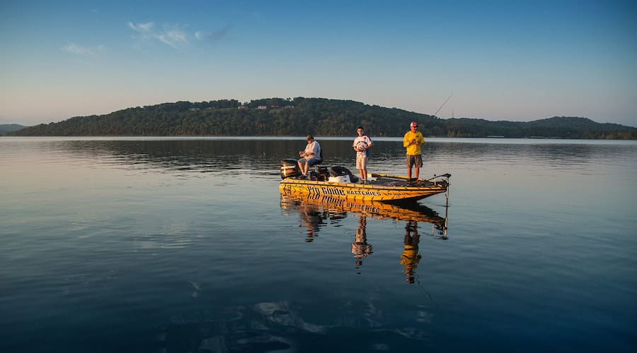 A group of fisherman on a boat fishing at Table Rock Lake, MO.
