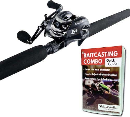 The Tailored Tackle bass baitcasting combo with a guide to bass fishing pocketbook against a white background.