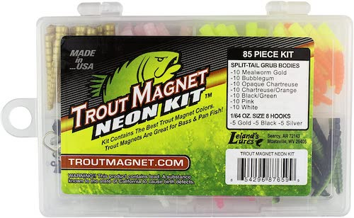 The Leland Lures Trout Magnet Neon Grubs Kit, filled with trout tackle, against a white background.