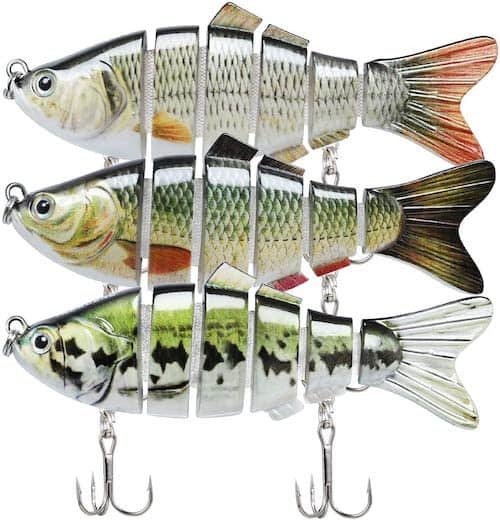 Truscend multi-jointed swimbaits against a white background.