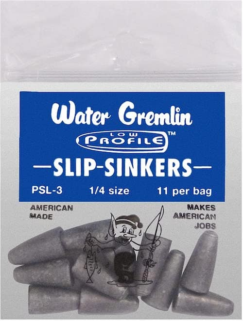 Water Gremlin Slip Sinkers, the best tackle for a Texas rig, against a white background.