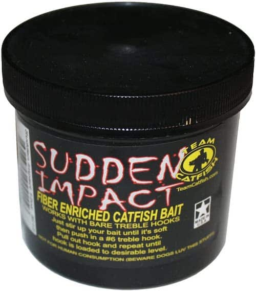 Team Catfish's Sudden Impact fiber-enriched catfish bait against a white background.